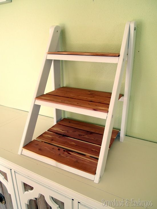 Mini Ladder Shelf for Serving and Entertaining {Sawdust and Embryos}