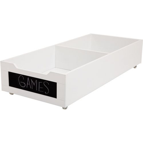 Store shoes under your bed in this easy to access rolling storage bin with a chalkboard label #spacesaver
