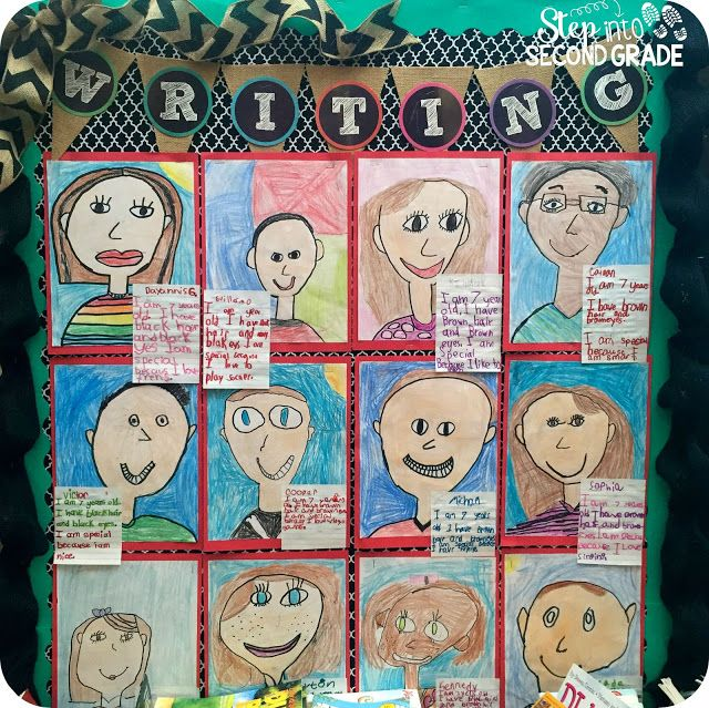 First week of school: Self portraits with writing. Step into 2nd Grade with Mrs. Lemons