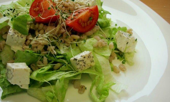 Kroupový salát s chia klíčky