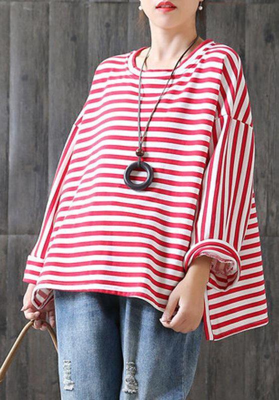 36fce532fe DIY cotton clothes Omychic New Loose Stripe Cotton Plus Size T-shirt ...
