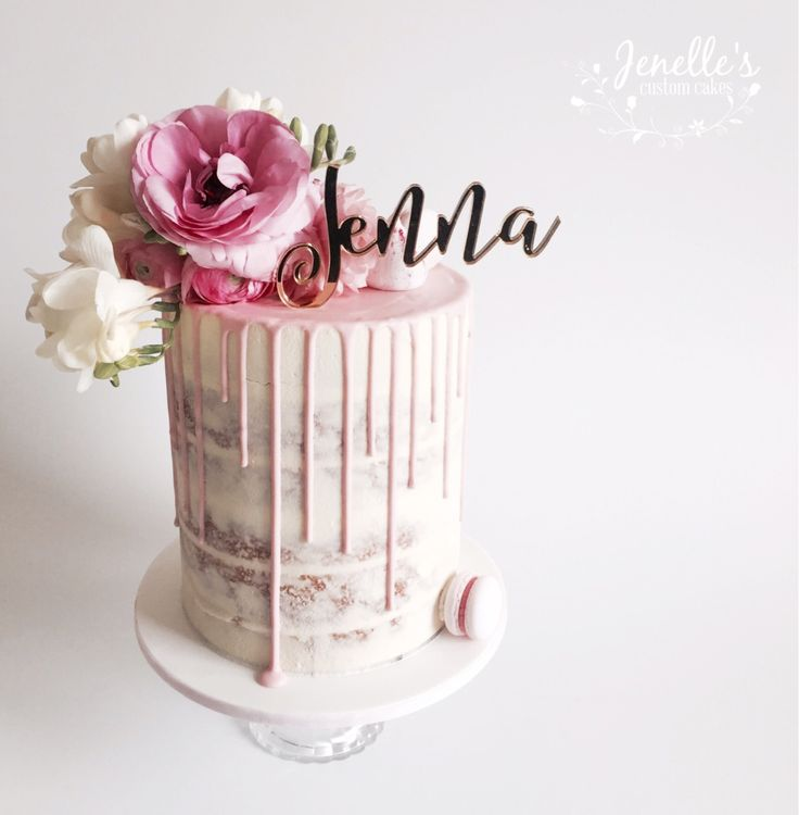 Semi naked double barrel cake with fresh flowers from Beachside Blooms and topper from Melbourne Laser Cutting. By Jenelle's Custom Cakes.