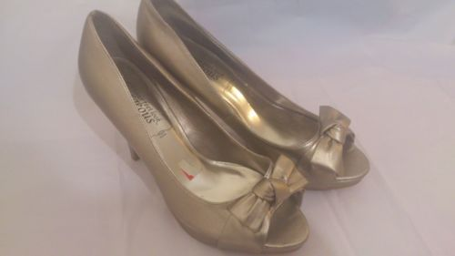 New Look Gold Peep Toe Heels Size 6 Shoes(New without box)