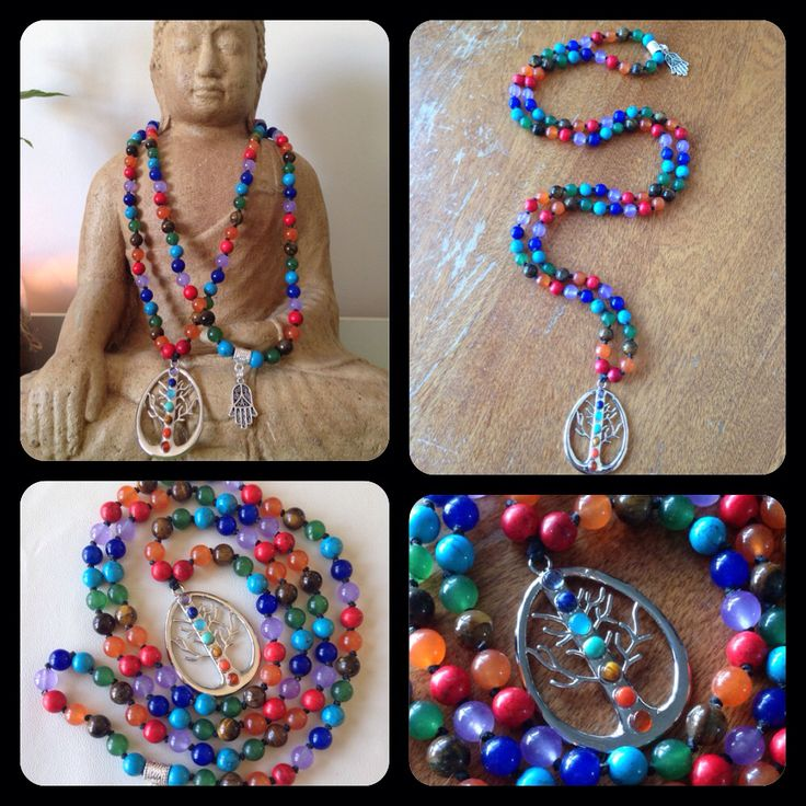 Hand-knotted 108 bead Chakra Mala with a Tree if Life focal. https://www.facebook.com/JediJewellery