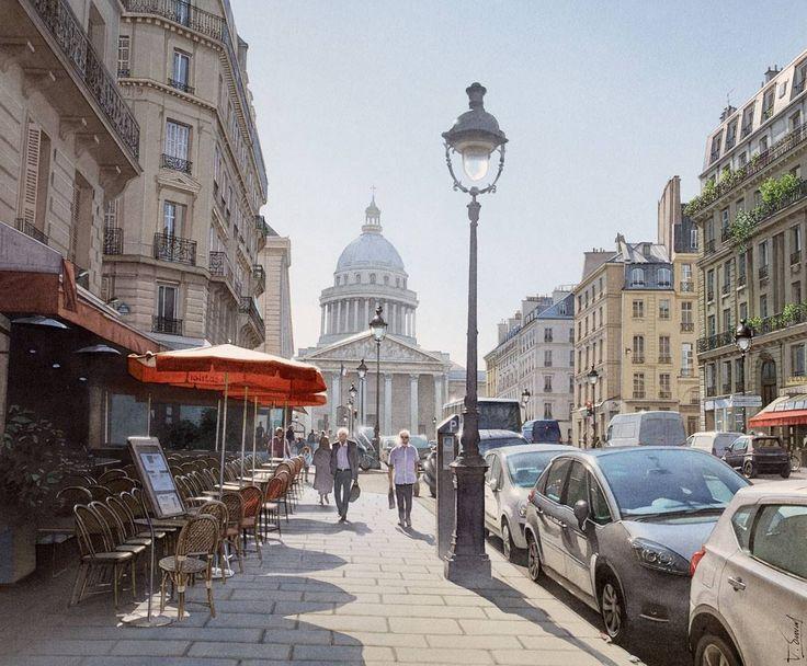 """Thierry Duval - """"Lumière vive sur le Panthéon et la rue Soufflot"""" (Aquarelle originale - Paris)"""