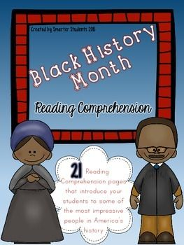 Black History Month {READING COMPREHENSION} 21 pages of reading comprehension practice about famous black Americans