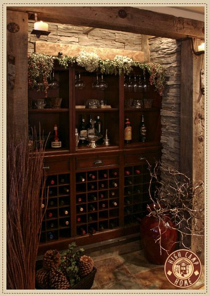 I love the idea of a built-in bar, set back in a niche. The stone walls are gorgeous. Maybe for my entertainment room?
