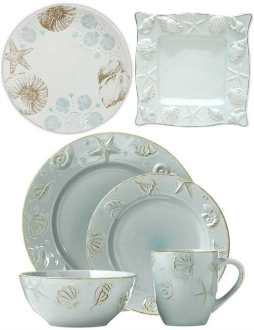 Beach Dinnerware: http://www.completely-coastal.com/2016/04/simple-coastal-beach-table-decor.html Lovely Ceramic Plates with a Coastal Design.