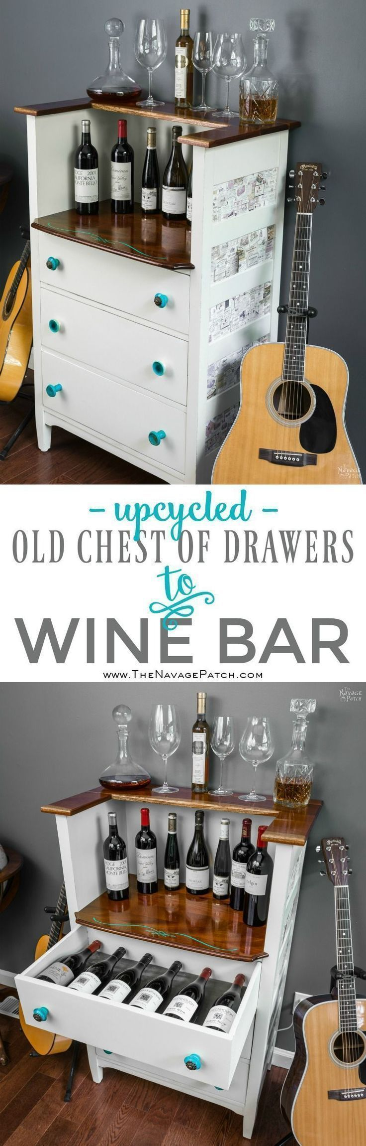 Upcycled: Old Chest of Drawers to Wine Bar | DIY furniture makeover| Upcycled furniture | DIY Wine Bar | From dresser to wine bar | Homemade chalk paint | Painted and upholstered furniture | Upholstery | Farmhouse style furniture | Annie Sloan Old White color | Fabric onlay | Painted wood furniture |Transformed furniture | Before & After | TheNavagePatch.com #paintedfurniturecolors #paintedfurniturebeforeandafter #diydressermakeover