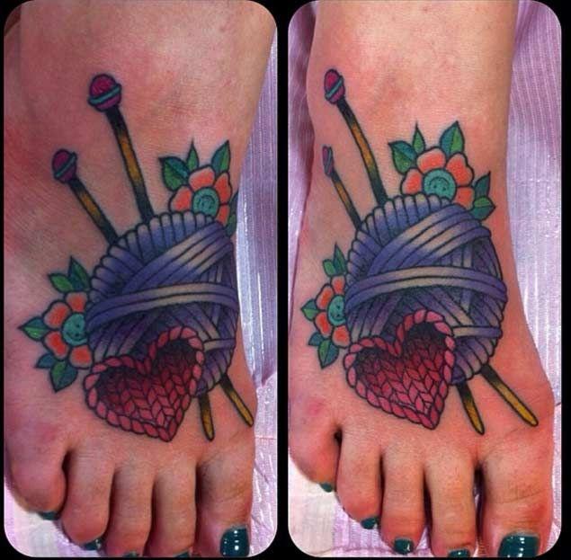 21 Beautiful Sewing And Knitting Tattoo Designs - TattooBlend