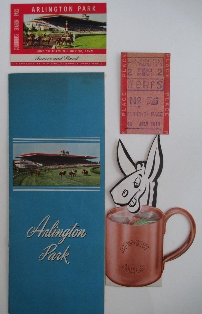 1949 Arlington Park Race Track Racing Form Guest Pass Betting Ticket PROVENANCE