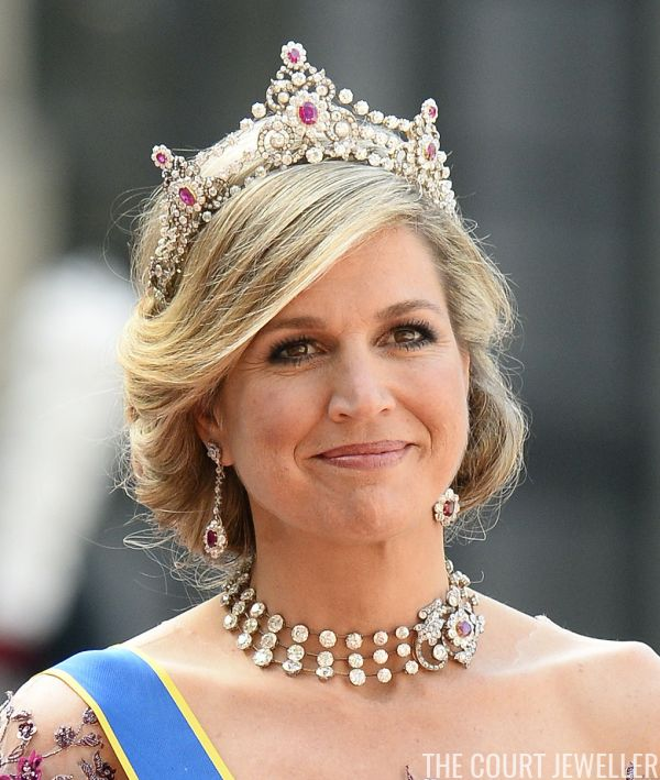 Queen Maxima of the Netherlands wears the Mellerio Ruby Parure Tiara at the wedding of Prince Carl Philip of Sweden, 13 June 2015