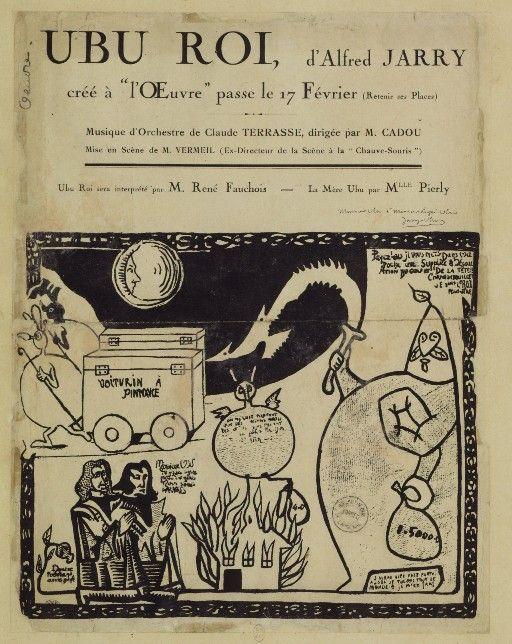 Ubu Roi. Alfred Jarry. Paris. 10 Dec 1896Plays Ubu, 1896 Playbill, 1St Editing, Decs 1896, Première Ubu Roi, Alfred Jarrie, Book Design, Roi Playbill, Ubu Roi Jpg