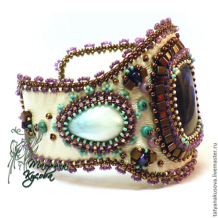 """Купить браслет """"Белая ночь"""" - белый, лабрадор, ларимар, японский бисер, браслет, подарок девушке"""