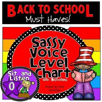 Voice Level Chart**Updated 2016**Take control of your class with this sassy classroom voice level chart; a definite back to school must have! Show your kiddos the level of buzz that is acceptable during the class sessions, when at work or at rest. Each level contains both words and illustrations to help get across the message effectively.
