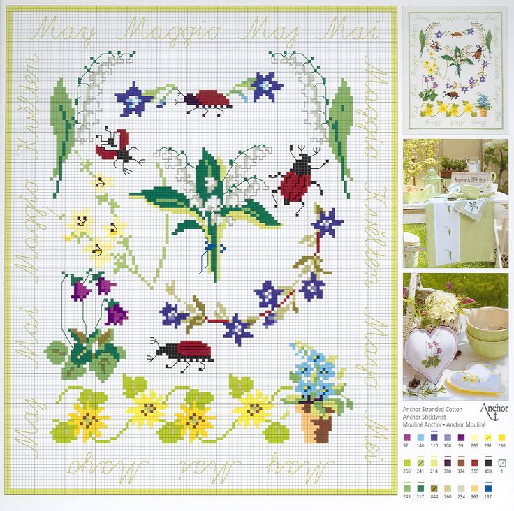 May Flowers free cross stitch pattern (Anchor)