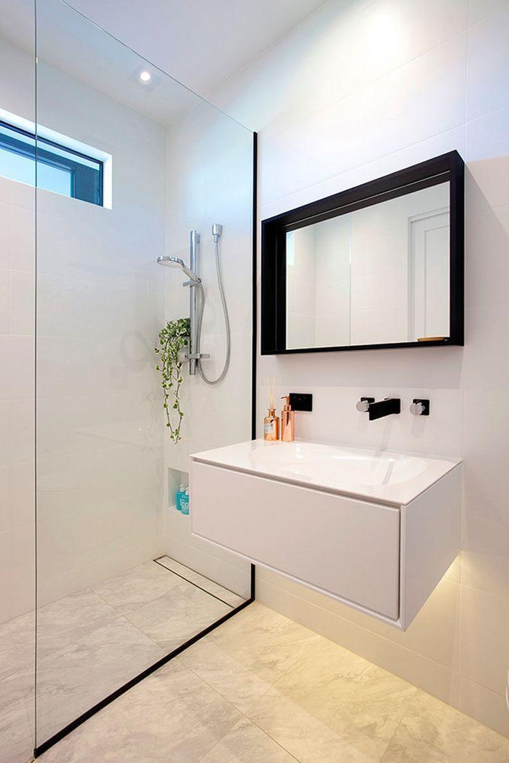 Digital Art Gallery Bathroom Design Idea Black Shower Frames