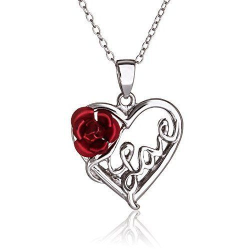 Mothers Day Gifts Gift For Mother Mom Silver Necklace Pendant Rose Heart Love  #SilverLuxe
