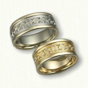 14kt Two Tone Celtic Wave Knot Wedding Band Set