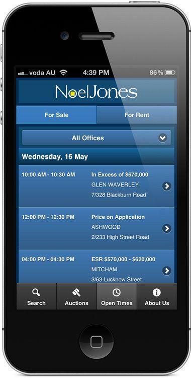 noeljones.com.au - mobile website - open times.