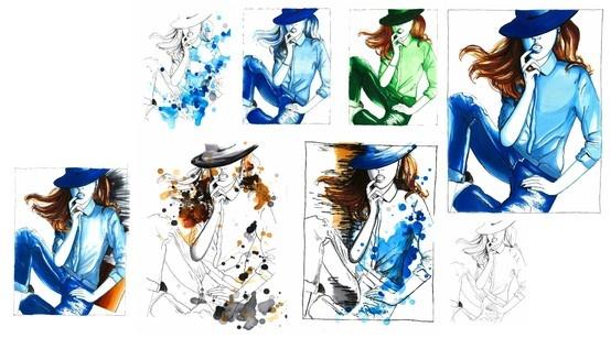 Tekeningen Jeans - Lijnen, marker, inktvlekken