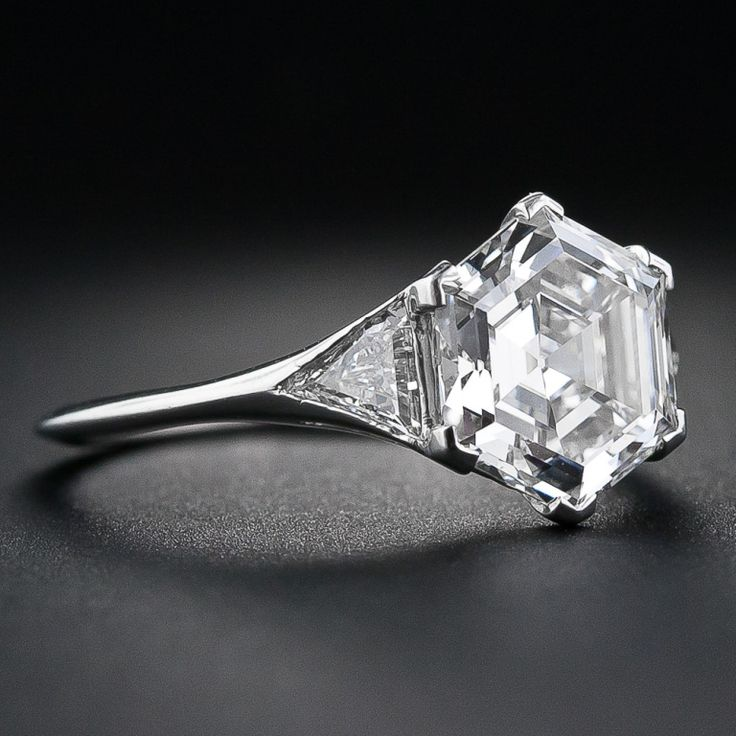 2.91 Carat Hexagon Diamond Platinum Engagement Ring | From a unique collection of vintage engagement rings at http://www.1stdibs.com/jewelry/rings/engagement-rings/