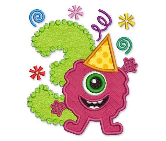 Funny Monster Happy Birthday Number 3 Applique by EmbroideryLand