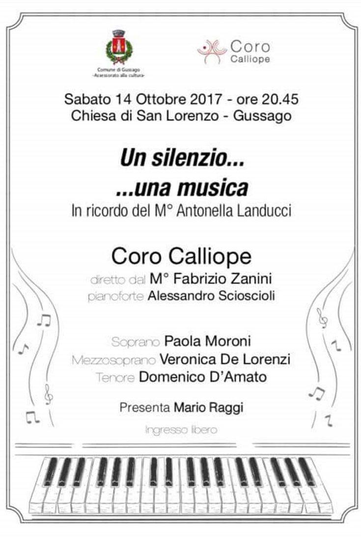 """Sabato 14 ottobre concerto """"Un silenzio... ...una musica"""", in ricordo di Antonella Landucci - http://www.gussagonews.it/concerto-silenzio-musica-ricordo-antonella-landucci-ottobre-2017/"""