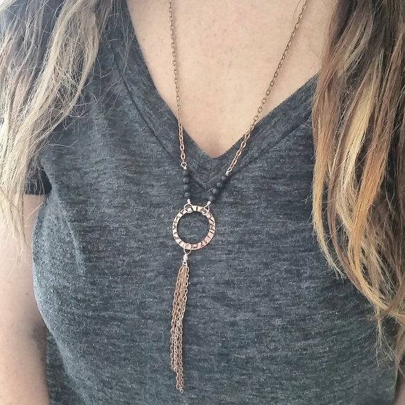 Lava Diffuser Necklace --- Essential Oil Diffusing Jewelry -- Copper Boho Aromatherapy Necklace