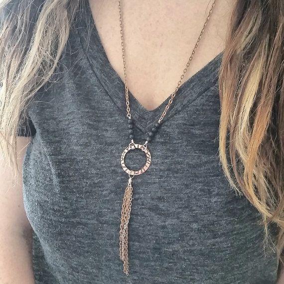 Lava Diffuser Necklace --- Essential Oil Diffusing Jewelry -- Copper Boho…