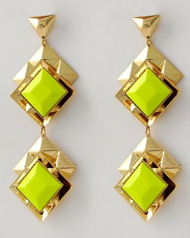 Neon yellow earrings