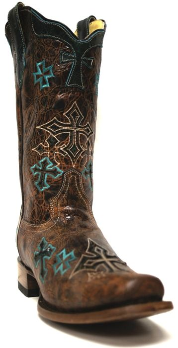 """Corral Women's Whiskey Turquoise Cross Boots -- We've got your """"something blue"""" covered with these beautiful #Corral #cowgirl boots. 