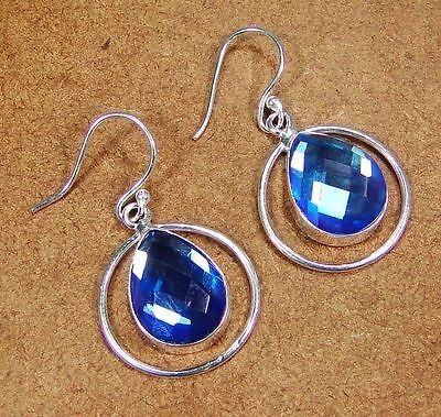Sterling Silver Overlay Mystic Blue Earrings $9.00.