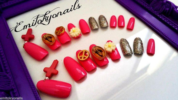 Press on Nails,Stiletto Nails,3d Nails,Hand Painted False Nails,20 Nails+Glue
