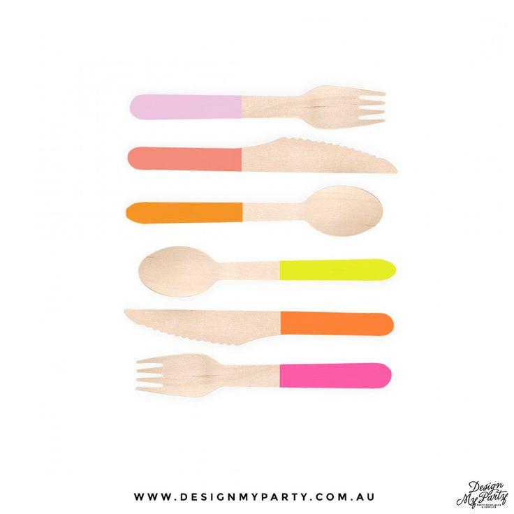 Colour Block Wooden Disposable Cutlery