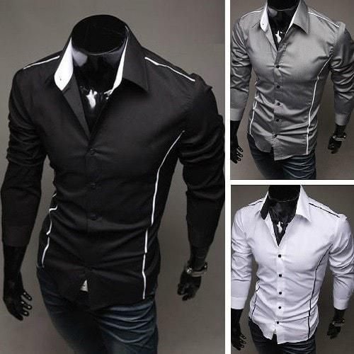 """Every man will love this selection of stylish formal dress shirts. It comes in a slim fit design to give all men a """"hunky"""" image they've all wanted! Features:"""