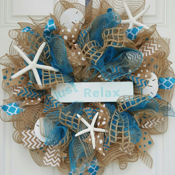 """22"""" in Diameter Burlap and Teal Deco Mesh wreath accented with several types of…"""