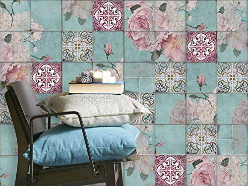 Film adhésif décoratif carreau | Mosaïque murale - Careller appartement | Motif Durch die Blume | 10x10 cm (20 pièces)
