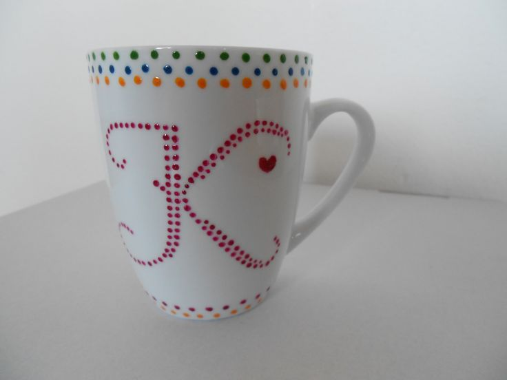 Hand painted cup, letter K