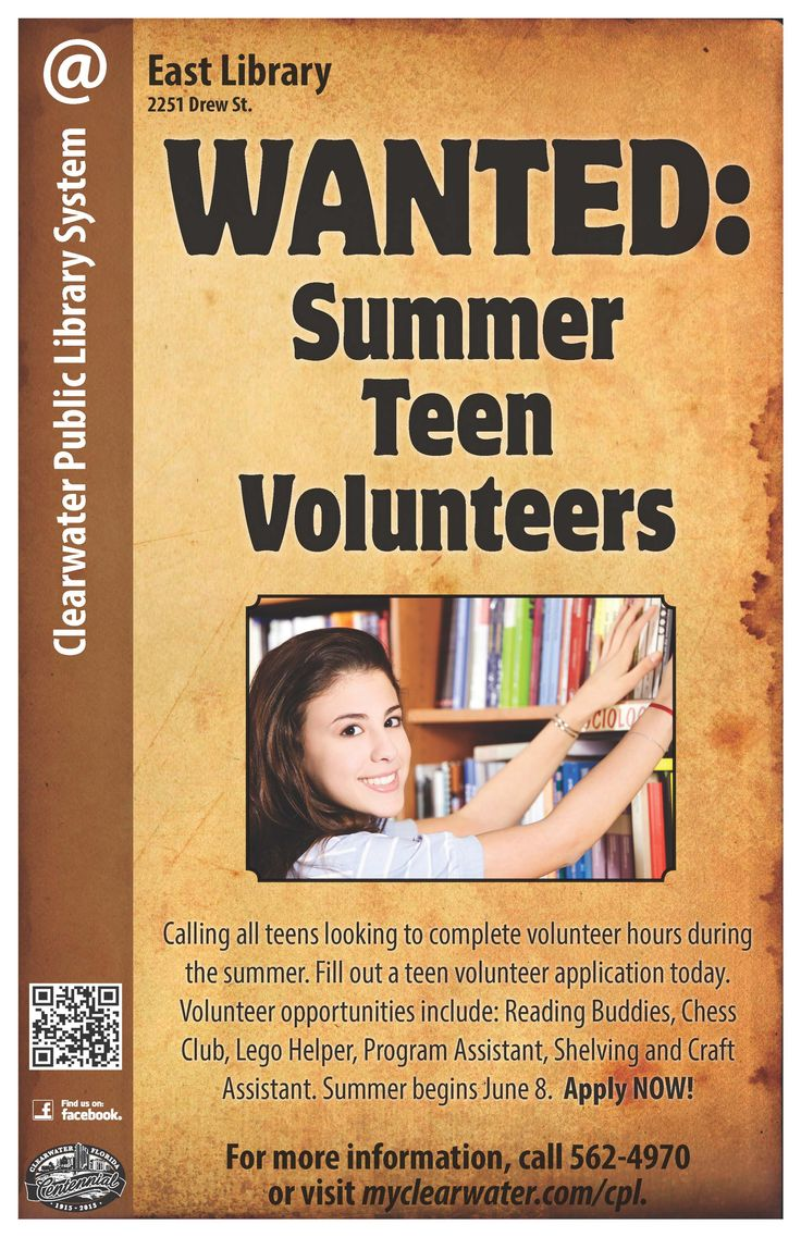 Calling all teens looking to complete volunteer hours during the summer. Fill out a teen volunteer application today. Volunteer opportunities include: Reading Buddies, Chess Club, Lego Helper, Program Assistant, Shelving and Craft Assistant. Summer begins June 8. http://www.myclearwater.com/cpl/teens/volunteer.asp
