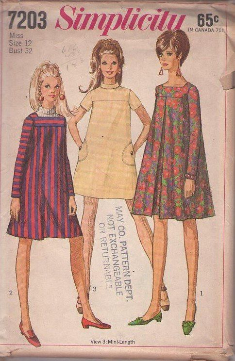 MOMSPatterns Vintage Sewing Patterns - Simplicity 7203 Vintage 60's Sewing Pattern SUPER Swingin' Mod Twiggy Tent Dress Set, Flared Babydoll Dress, 3 Styles Size 12