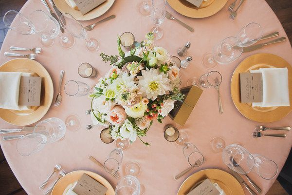 Gold and Blush Wedding Tabletop at the Carmel Mountain Ranch Country Club. Flowers by www.BespokeOccasions.com Image from Your Inner Song