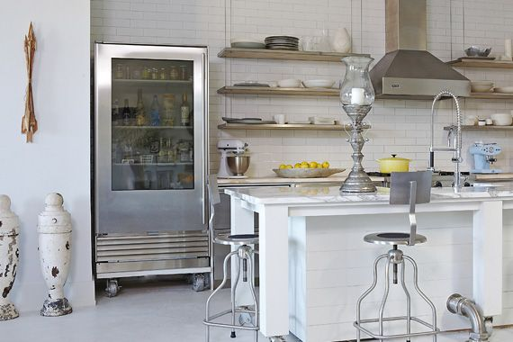 White industrial kitchen, subway tiles, French warehouse style, needs to be pared back