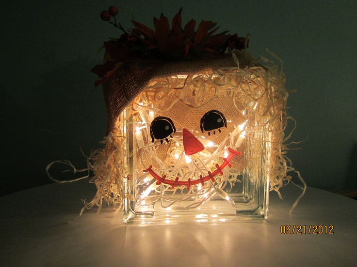 Glass Block Scarecrow Fall Decoration by ritzywreaths on Etsy, $40.00