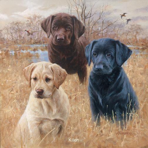 """Marsh Daze"" Labrador Puppies- Labrador Retriever painting by Jim Killen"