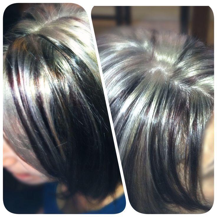 Grey highlights on dark hair