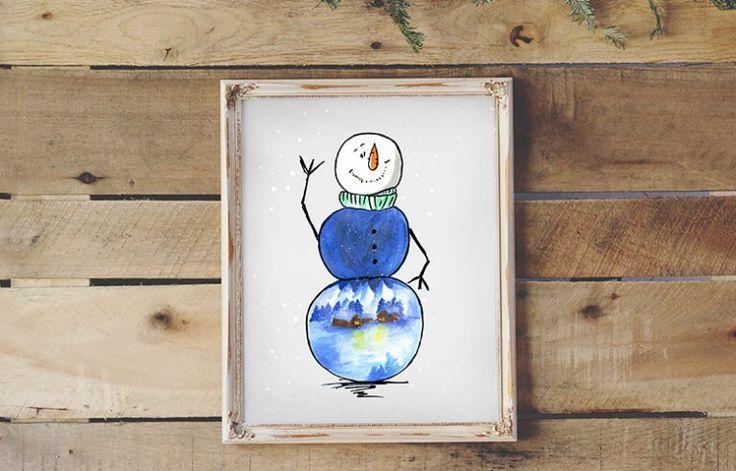 Plakat świąteczny da dzieci za darmo - Bałwanek z widokiem  Free christmas poster for kids - Snowman