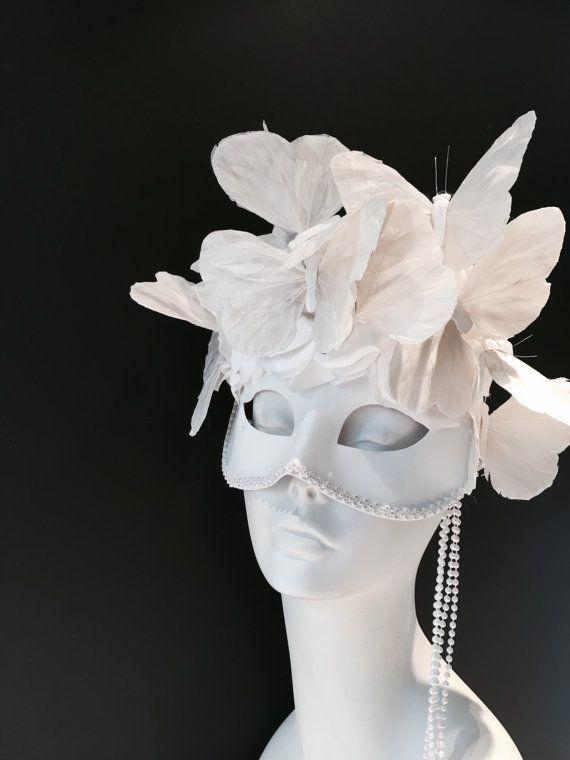 White Mask Masquerade Diner en Blanc Bridal Mask Wedding