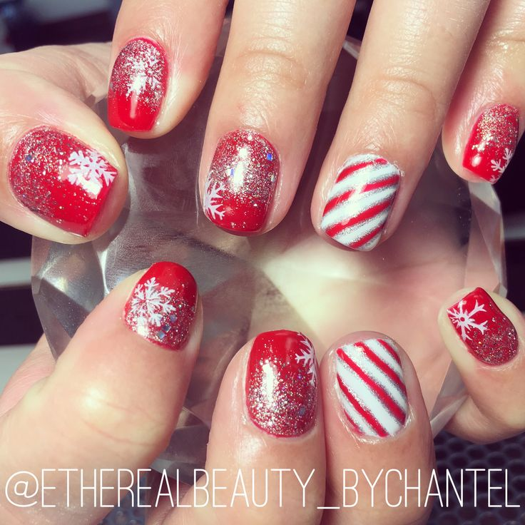 The 25 best christmas shellac nails ideas on pinterest red christmas shellac nails with candy cane stripes snowflakes and glitter ombr prinsesfo Choice Image