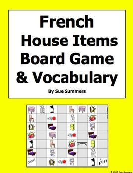 French House Items Board Game and Vocabulary by Sue Summers - 32 square board game containing images of 10 different items.